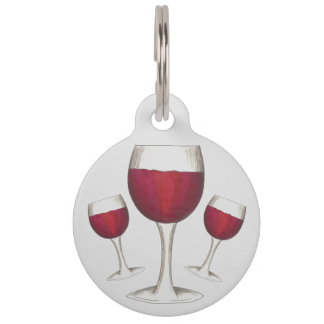 Burgundy Red Wine Glass Merlot Cabernet Pet ID Tag