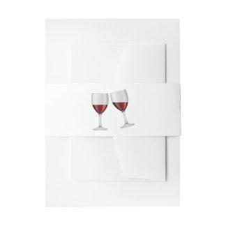Burgundy Red Wine Glasses Wedding Invitation Belly Band