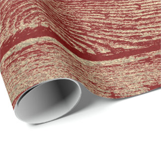 Burgundy Red Wine Gold Wood Shabby Foxier Wrapping Paper