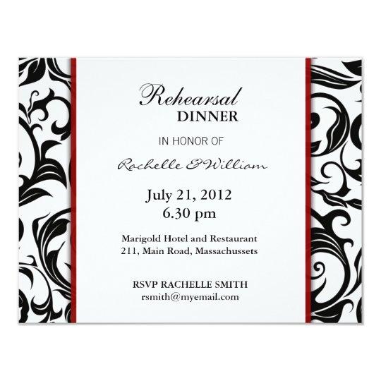 """Burgundy Rehearsal Dinner Card 4.25"""" X 5.5"""" Invitation Card"""