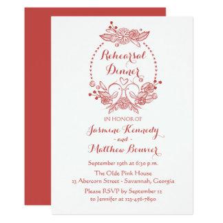 Burgundy Rehearsal Dinner Lovebirds Floral Wedding Card