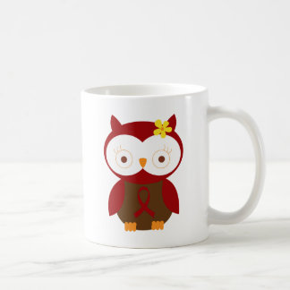 Burgundy Ribbon Owl Awareness Coffee Mug
