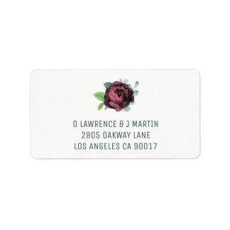 Burgundy Rose Address Labels