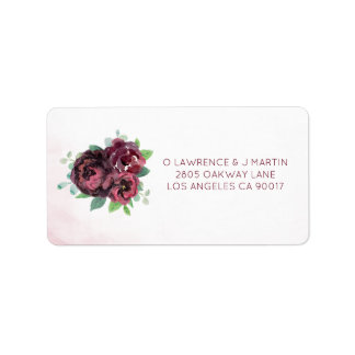Burgundy Rose Bouquet Label