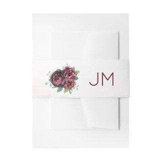 Burgundy Rose Bouquet Monogram Wedding Invitation Belly Band