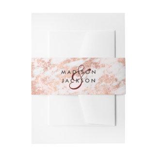Burgundy & Rose Gold Marble Wedding Monogram Invitation Belly Band