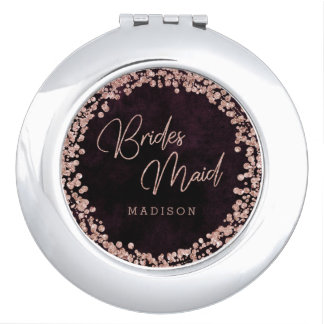 Burgundy & Rose Gold Wedding Wedding Bridesmaid Compact Mirrors