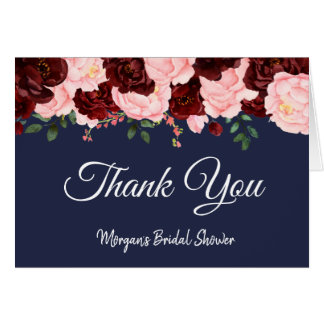 Burgundy Rose Navy Blue Bridal Shower Thank You Card