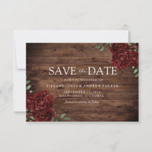 Burgundy Rose Romantic Rustic Save the date