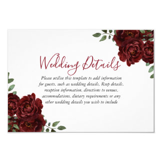 Burgundy Rose Romantic Wedding Reception details Card