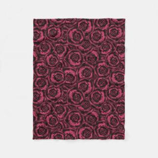 Burgundy roses fleece blanket
