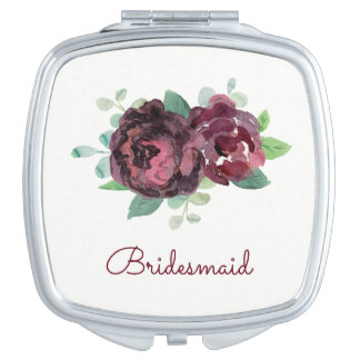 Burgundy Roses Pretty Watercolor Mirror For Makeup