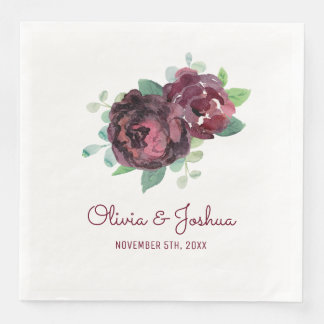 Burgundy Roses Wedding Paper Dinner Napkin