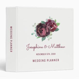 Burgundy Roses Wedding Planner 3 Ring Binders