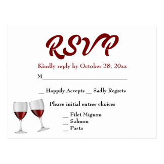 Burgundy RSVP Champagne Wine Glasses Wedding Postcard