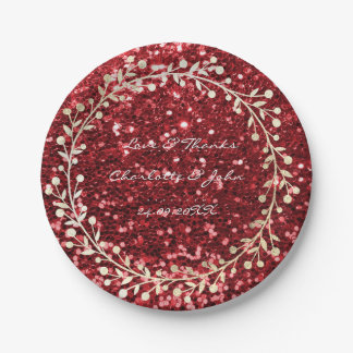 Burgundy Rube Red  Foxier Gold Wreath Garland Paper Plate