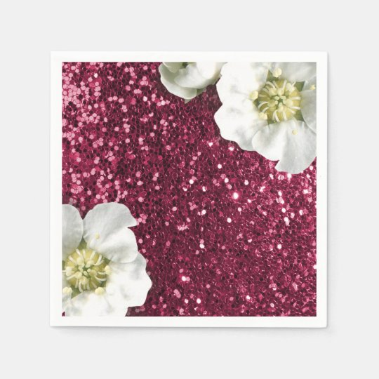 Burgundy Rubin Pink Jasmin Glitter Sequin Sparkl Paper Napkin
