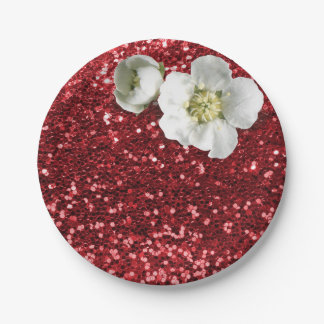 Burgundy Ruby Red White Jasmine Glitter Paper Plate