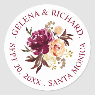 Burgundy Rust Watercolor Floral Bouquet Wedding Classic Round Sticker