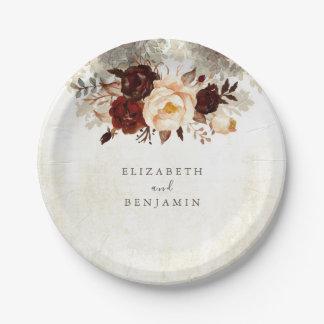 Burgundy Rustic Floral Wedding Paper Plate