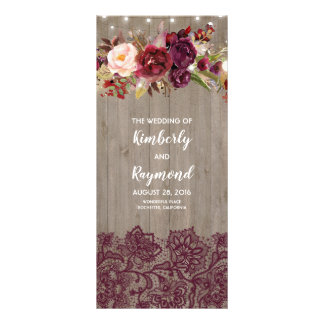 Burgundy Rustic Floral Wedding Programs