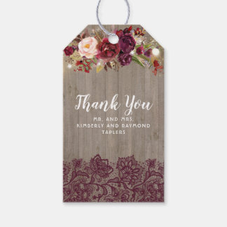 Burgundy Rustic Flowers and Lace Wedding Gift Tags
