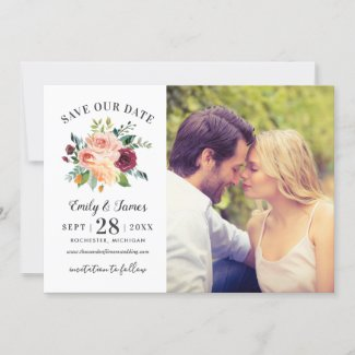 Burgundy Rustic Romance | Wedding Photo Save The Date