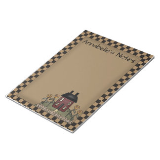 Burgundy Saltbox & Sunflowers Personalized Note
