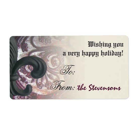 """burgundy/sand"" iron fleur de lis gift tags"