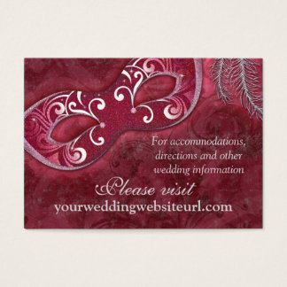 Burgundy Silver Masquerade Ball Wedding Website Business Card