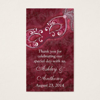 Burgundy Silver Masquerade Wedding Favour Tags Business Card