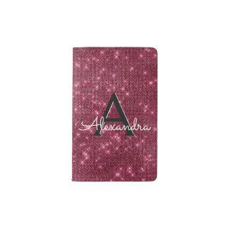 Burgundy Sparkle Bling Girly Monogram Notebook