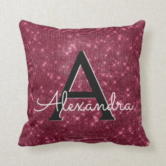Burgundy Sparkle Shimmer Monogram Name & Initial Throw Pillow