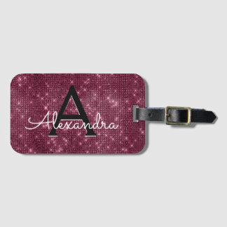 Burgundy Sparkle Twinkle Sparkle Monogram Name Luggage Tag