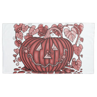 Burgundy Spidery Pumpkin Pillowcase