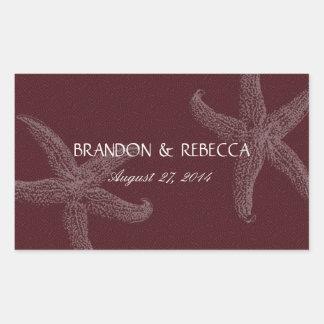 Burgundy Starfish Wedding Water Bottle Wrapper Sticker