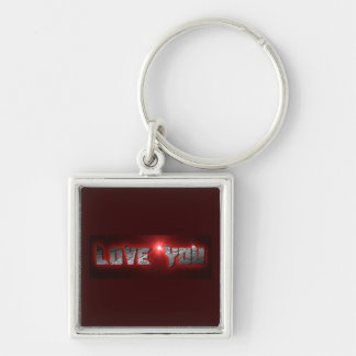 BURGUNDY STEEL LOVE YOU EXPRESSIONS KEYCHAIN