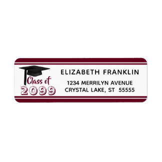 Burgundy Striped Class of 20XX | Editable Color