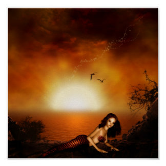Burgundy Sunset Mermaid Poster Print
