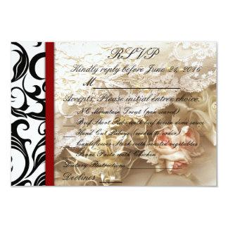 Burgundy Swirl Wedding RSVP Card