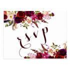 Burgundy Watercolor Floral Autumn Wedding RSVP Postcard