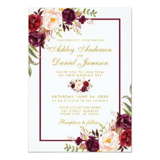 Burgundy Watercolor Floral Gold Wedding Invite BG