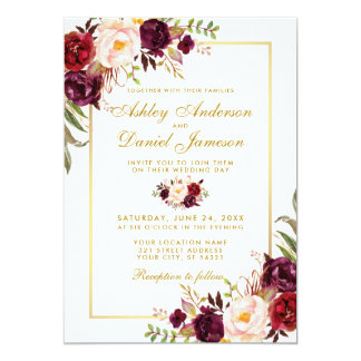 Burgundy Watercolor Floral Gold Wedding Invite G