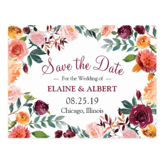 Burgundy Watercolor Floral Save The Date Postcard