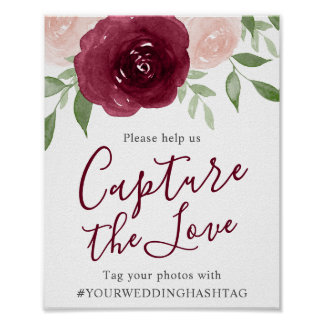 Burgundy Watercolor Floral Wedding Hashtag Sign