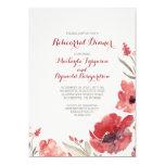 "Burgundy Watercolor Florals Cute Rehearsal Dinner 5"" X 7"" Invitation Card"