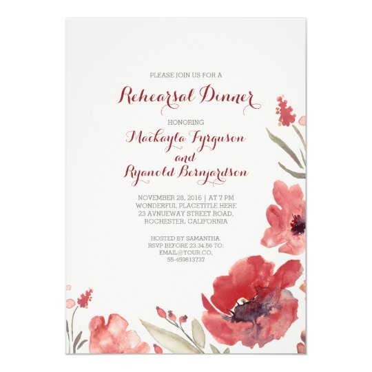 Burgundy Watercolor Florals Cute Rehearsal Dinner Card