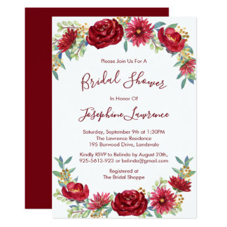 Burgundy Watercolor Flowers Bridal Shower Card