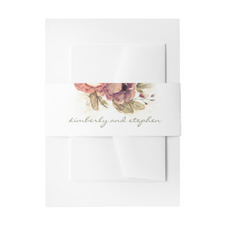 Burgundy Watercolor Flowers Elegant Wedding Invitation Belly Band