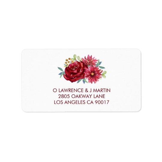 Burgundy Watercolor Flowers Label
